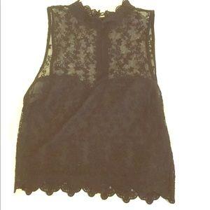 Forever21 Embroidered high neck tank black